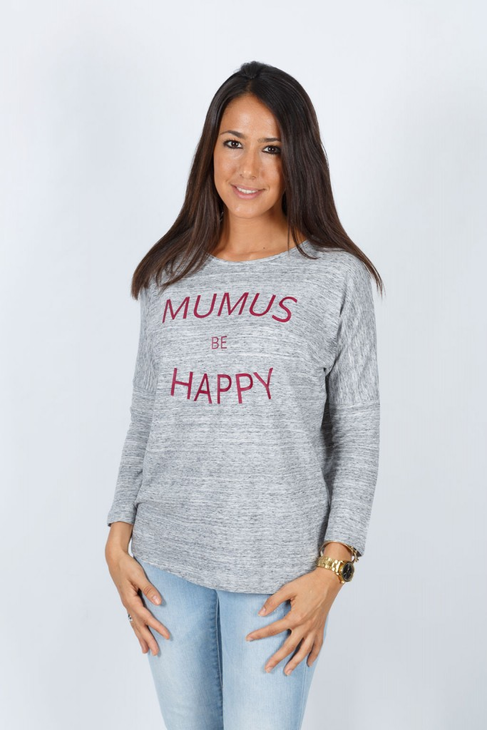 Camiseta Gris Manga Larga Be Happy