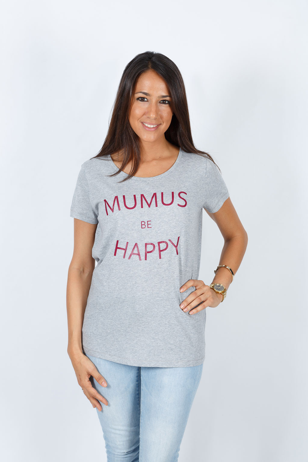 Camiseta Gris Be Happy