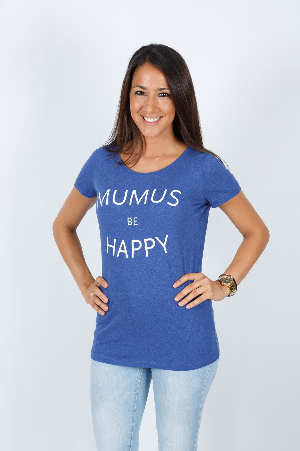 Camiseta Azul Be Happy