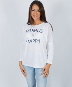 Camiseta Blanca Manga Larga Be Happy