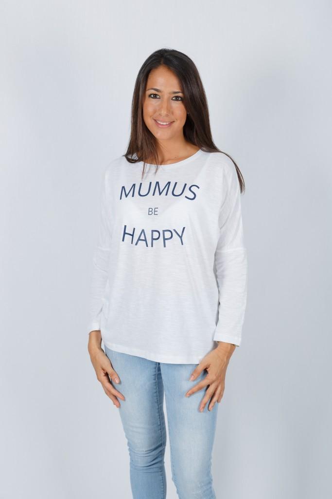 Camiseta Blanca Manga Larga Be Happy